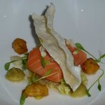 Salmon with Cauliflower and Squid