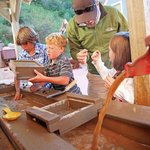 Gold panning interactive in Hard Rock, Rough Lives, the museum's outdoor mining exhibit!