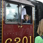 My daughter on the steam engine before we departed.