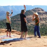 A little Qi Gong on the red rocks.