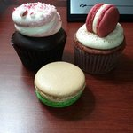Peppermint cupcake, red velvet cupcake, and brandy apple macaron
