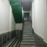 the staircase into the building