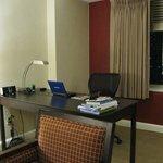 Huge desk, great lamp w/ outlets.