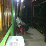 Drunk man outside our room at Aquario Hostel
