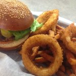 Classic Cheeseburger, Fried onion rings as my side