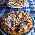 meat lovers and chicken cheese burger pizzas!
