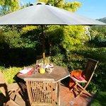 Sunny breakfast spot in garden