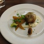 Confit duck leg with saffron & cinnamon poached pears and vanilla mayonnaise