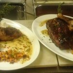 Pork Back Ribs, Fresh Mango BBQ Sauce, Herb Roasted Chicken, Roasted Root Hash, Horseradish Sour