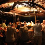 Guests at the bar at night