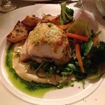 roast fillet of cod on artichoke purée and shellfish mousse