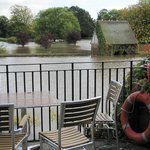 View from cafe over flooded park