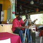 Manningham Calwood and Egberth Donovan, proprietor leading the Funghi Band