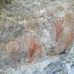 Ancient pictographs that Charlie Angell took us to see in the state park