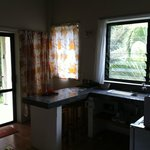 Kitchenette and windows/patio in private studio room.