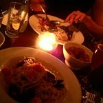 Linguine, rosemary potatoes, spinach and the beautiful candle :)