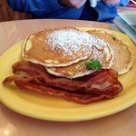 full pancakes with bacon
