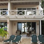 Top and bottom patio of the beachfront cottage