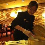 Server served the Peking duck in pancake