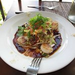 Entreee-Seared scallop with shredded duck with a pineapple and mint Asian salad