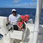 Seth piloting the catamaran to Saona