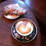 cappuccino and almond croissant