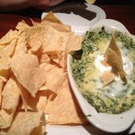 The Spinach Dip appetizer comes with tortilla chips and salsa.