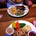 Steak and calamari and steak and ribs