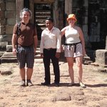 We and Mr. Sophal (mid) in front of a temple (Roluos group)
