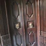Antique door to one of the restaurants.