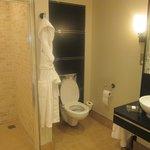 spacious bathroom (also a bath)