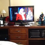 TV, mini fridge and microwave ( our wine and mini x-mas tree)