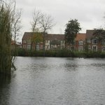 View from island across lake to cottages