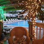 The pool from the tiki bar upper deck (loved the Christmas Lights...)