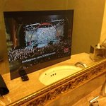 tv in bathroom mirror!