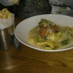 fishcake, Savoy cabbage and fries.