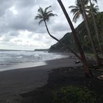 Blacksand beach at Rosalie Bay resort
