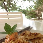 spaghetti seafood in tomato sauce - 190 baht