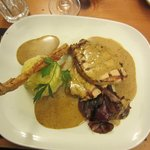 chargrilled pork loin with bacon mash and a brandy/peppercorn sauce