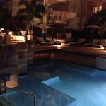 One of the pool areas at night