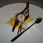 cheese cake with truffle sauce