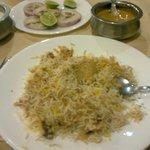 Chicken Biryani with Curd, Salad & Curry