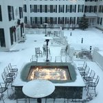 fire pit in the winter snow