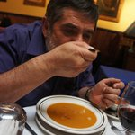 Tasting the Crema Portuguesa, along with a Cabernet Sauvignon.