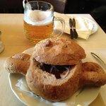 Goulash served inside bread...
