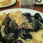 Mussels and Cauliflower appetizer-very filling and delicious.