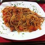 octopus and cherry tomato spaghetti