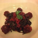Squid Ink Speggettie with Meatballs.