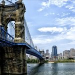 Roebling Suspension Bridge from the Covington side of the Ohio River.