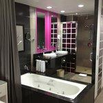Ultra modern bathroom. Very cool. Great water pressure.